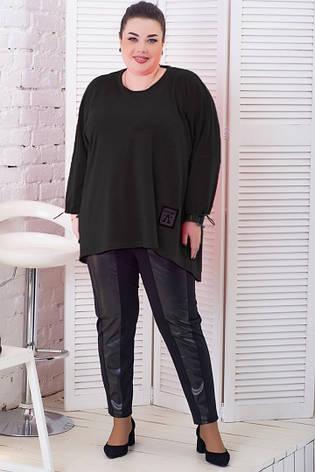 Черная стильная туника больших размеров батал, фото 2