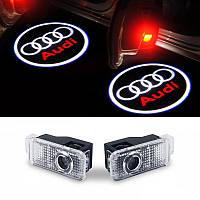 Штатная Подсветка дверей с логотипом авто Audi . Штатная Подсветка в двери led Ауди