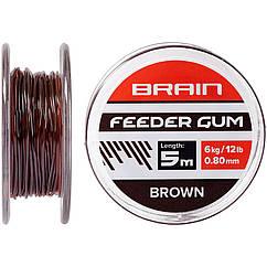 Амортизуюча резина Brain Feeder Gum 0.8мм 12lb/6кг Коричнева (довжина 5м)