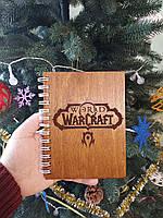 Блокнот ежедневник с деревянной обложкой, с гравировкой War Craft