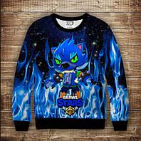 Світшот 3D Brawl Stars Leon Werewolf in blue fire