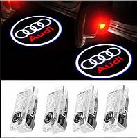 Штатная Проекция подсветка дверей с логотипом Ауди А3 А4 А5 А6 А7 А8 Q7 Q5 Q3 (4шт) на все двери
