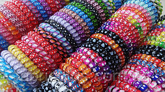 Резинки пружинки силиконовые для волос 4 см цвет в ассортименте