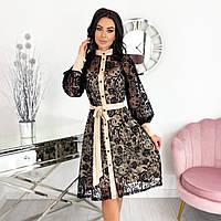 Бежевое нарядное кружевное платье миди сетка с напылением флок