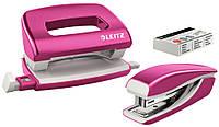 Набор Leitz NeXXt Mini WOW степлер дырокол скобы металл в пластиковом корпусе розовый(55612023)