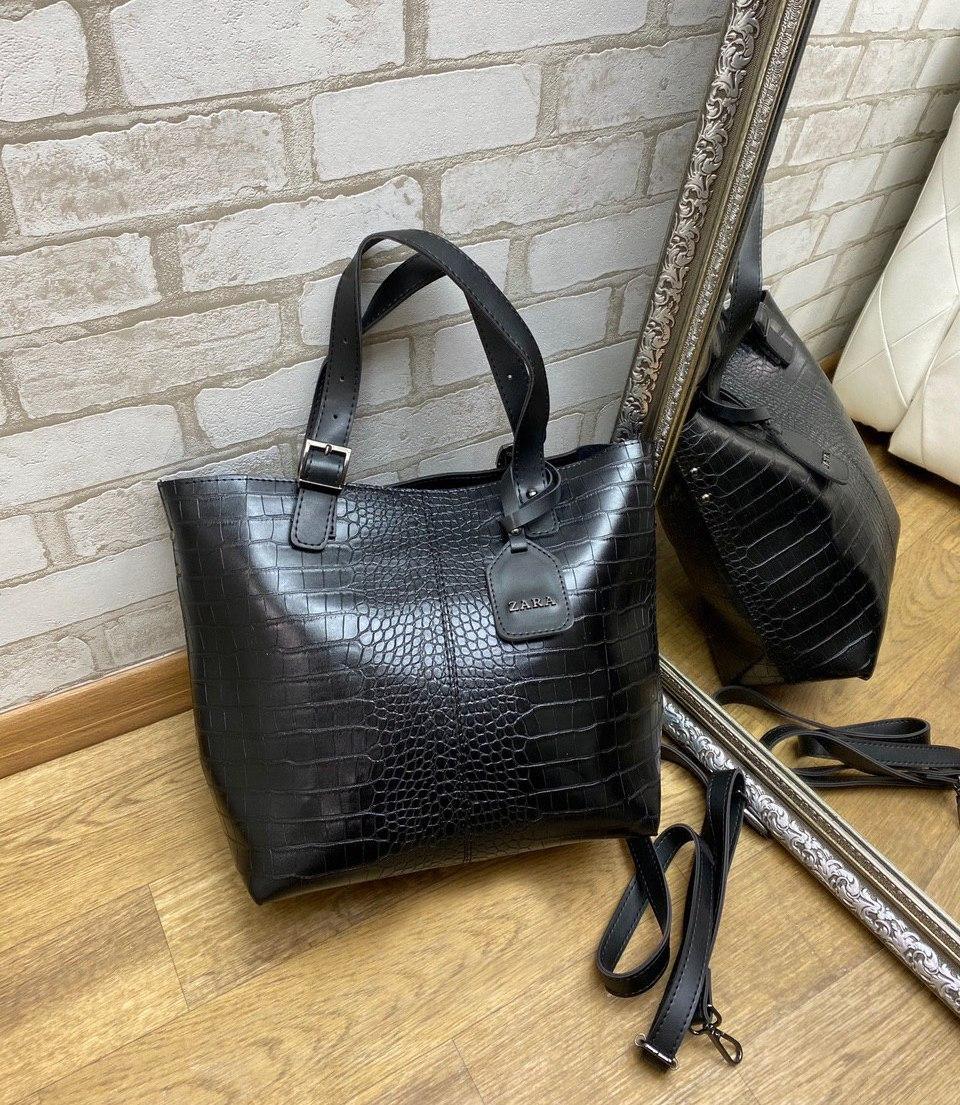 Большая женская сумка под рептилию шоппер городская модная черная экокожа