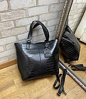 Большая женская сумка под рептилию шоппер городская модная черная экокожа, фото 1