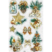 """Фетр с новогодним, зимним принтом рисунком """"Новогодний декор"""" ПНГ009"""