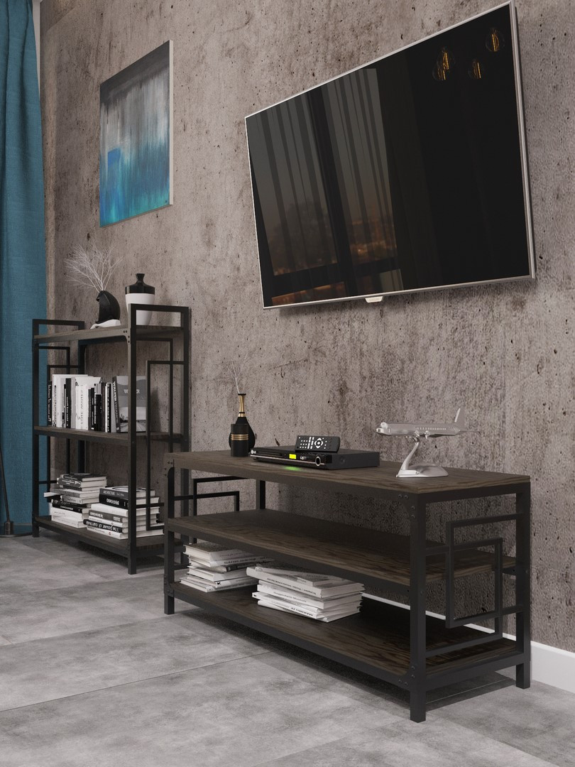 Стеллажи в стиле лофт Квадро Тумба ТВ Металл-Дизайн / Metall Design