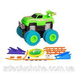 Машинка Trix Trux набор с трассой, на батарейках зеленый SKL17-139991