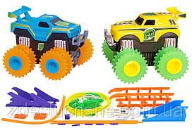 Машинки Trix Trux набор 2 машинки с трассой на батарейках синий плюс желтый SKL17-139996