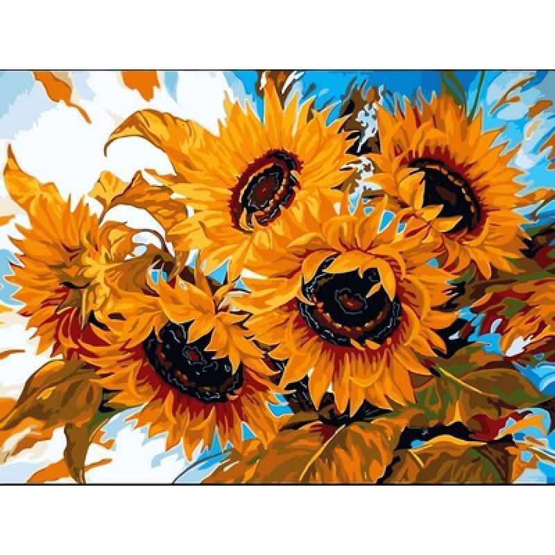 Картина малювання за номерами Babylon Квіти сонця 30х40см набір для розпису по цифрам у коробці