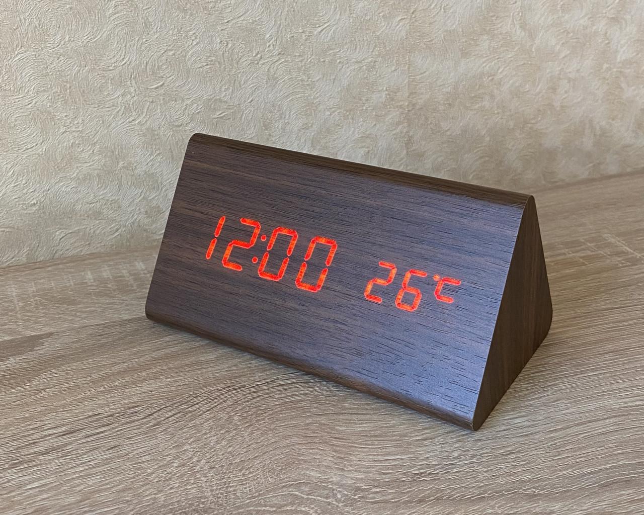 Электронные часы VST-861-1 коричневый корпус с красными цифрами