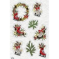 """Фетр с новогодним, зимним принтом рисунком """"Новогодний декор"""" ПНГ014"""