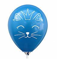 """Латексна кулька 12"""" синя з малюнком """"Котик з короною"""" (КИТАЙ)"""