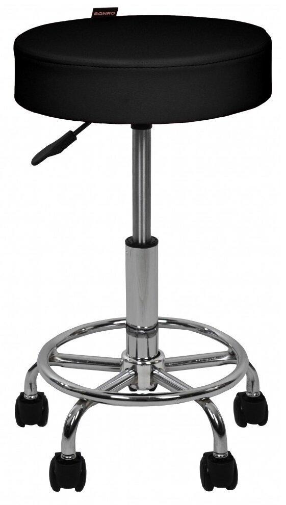 Крісло табурет на колесах без спинки кругле Bonro B-830 чорне (40300044)
