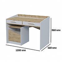Письменный стол для школьника Unity T 2S с двумя ящиками модульная мебель дуб тахо / белая аляска