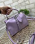 Женская сумка чемоданчик молодежная яркая сумочка модная сиреневая экокожа