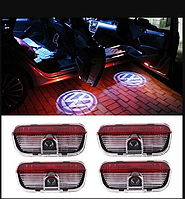 Штатная Подсветка дверей с логотипом авто Volkswagen VW Passat/Phaeton/Touareg/GOLF/Jetta 4шт.