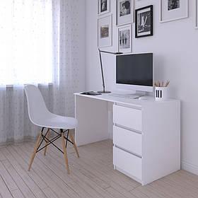 Компьютерный стол, письменный стол с тумбой cправа на три выдвижных ящика з фасадами без ручек R-1