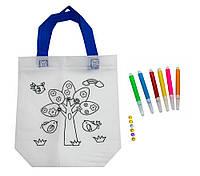 Дитяча сумка розмальовка 24х10х22 см з принтом дерева (Z12), розмальовки для дітей | сумка раскраска (GIPS)