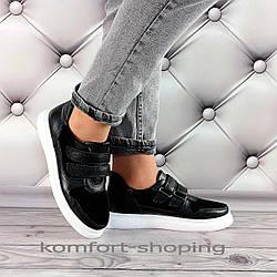 Женские кроссовки на шнуровке кожа + замша, черные   V 1356