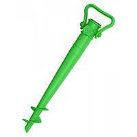 Подставка для пляжного зонта, стойка зеленая 39х9.5 см, держатель садового зонта (GIPS)