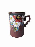 Чашка глиняная средняя обрезная Поляна (С росписью Поляна)