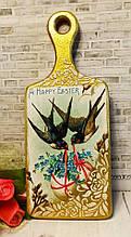 """Декоративная разделочная доска на подарок ручной работы """"Ласточки с букетом"""""""