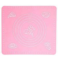 Коврик для выпечки, и раскатывания теста, силиконовый, антипригарный, 29x26 см., цвет - розовый (GIPS),