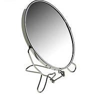 Двустороннее косметическое зеркало для макияжа на подставке Two-Side Mirror 19 см., зеркало увеличительное, фото 1