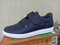 Весенние мужские кожаные кроссовки с липучкой 4244.синий черный