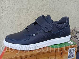 Модні чоловічі шкіряні кросівки з липучкою 4244.синій чорний