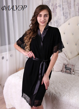 Домашний  халат       короткий, атлас, эластичное, ажурное кружево