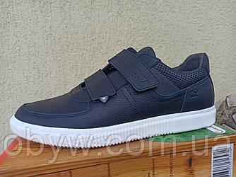 Польські кросівки на липучках, сині і чорні