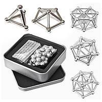 Магнітний конструктор Neo (36 паличок, 27 кульок) металік, головоломка неокуб (магнітні кульки)