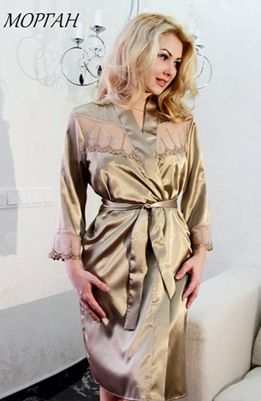 МОРГАН халат Fleur Lingerie (5320) середній, вишивка на сітці