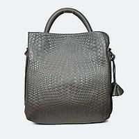 Модная женская серая сумочка кожаная 8158-1