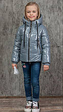 """Детская демисезонная куртка для девочки """"Альбина"""" серого цвета"""