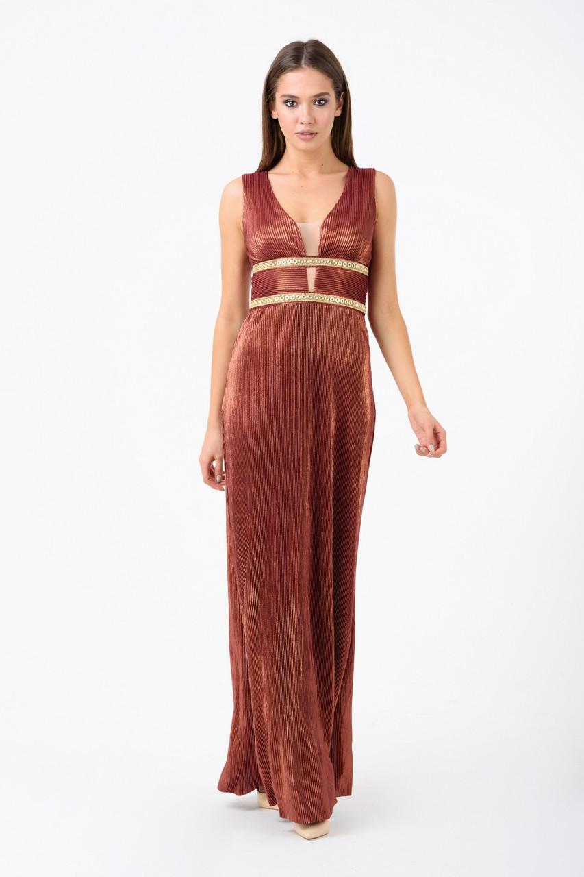 Вечернее платье женское в пол из жатого трикотажа брозовое Rica Mare MKRM1910