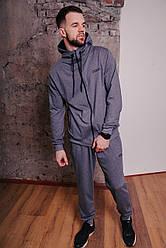 Спортивный костюм мужской серый, натуральный хлопок + полиэстер | Спортивный костюм весенний, брендовый