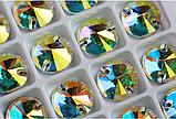 Стразы пришивные PREMIUM LUX RIVOLI Круглые Crystal AB Стекло 10мм, фото 2