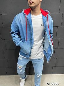 Мужская синяя джинсовая куртка с капюшоном