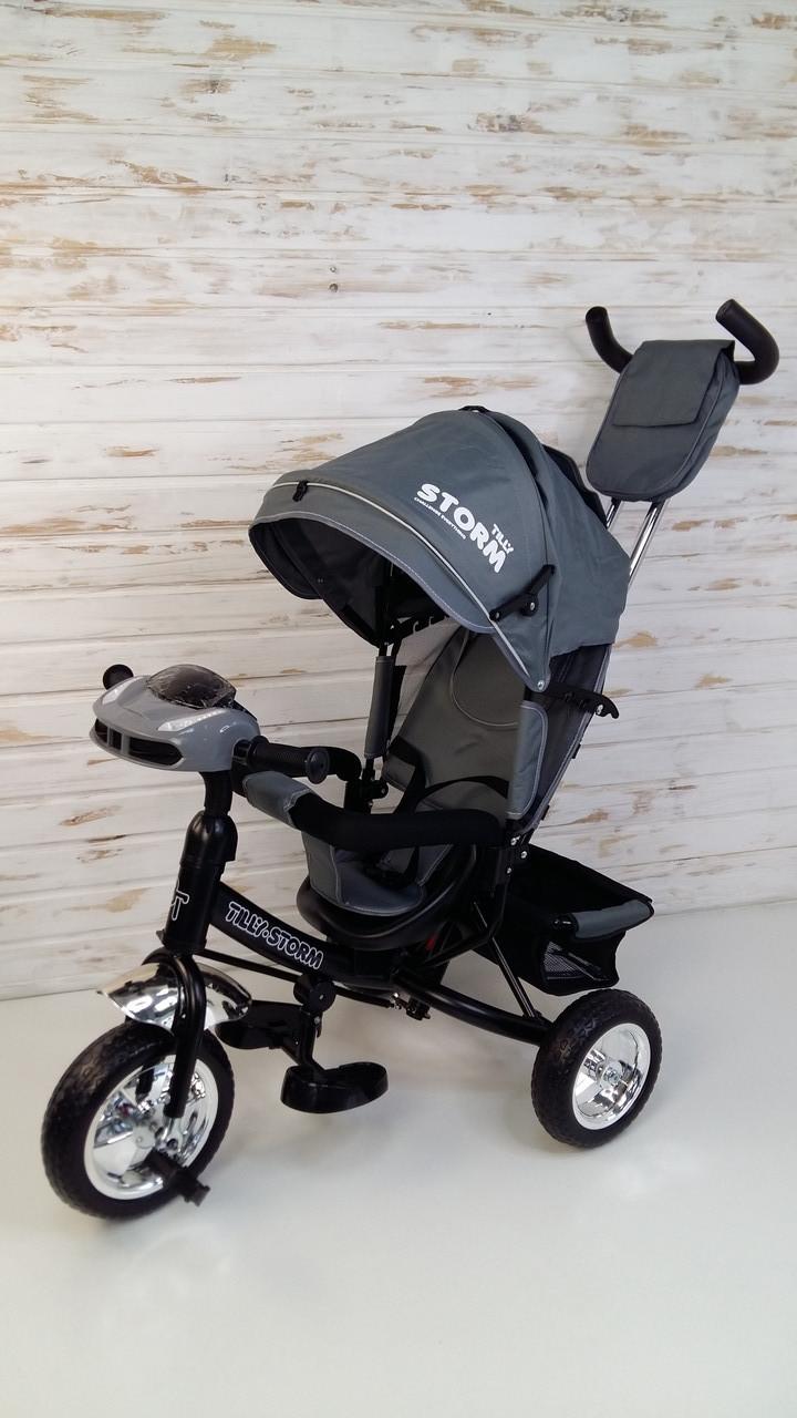 Велосипед трехколесный Tilly Storm, серый, родительская ручка, Велосипед триколісний TILLY STORM T-349/2 Сірий