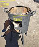 Печь металлическая с чугунным азиатским казаном на 12 литров с чугунной крышкой, фото 2