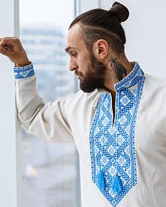 Льняная сорочка Марк с синим орнаментом
