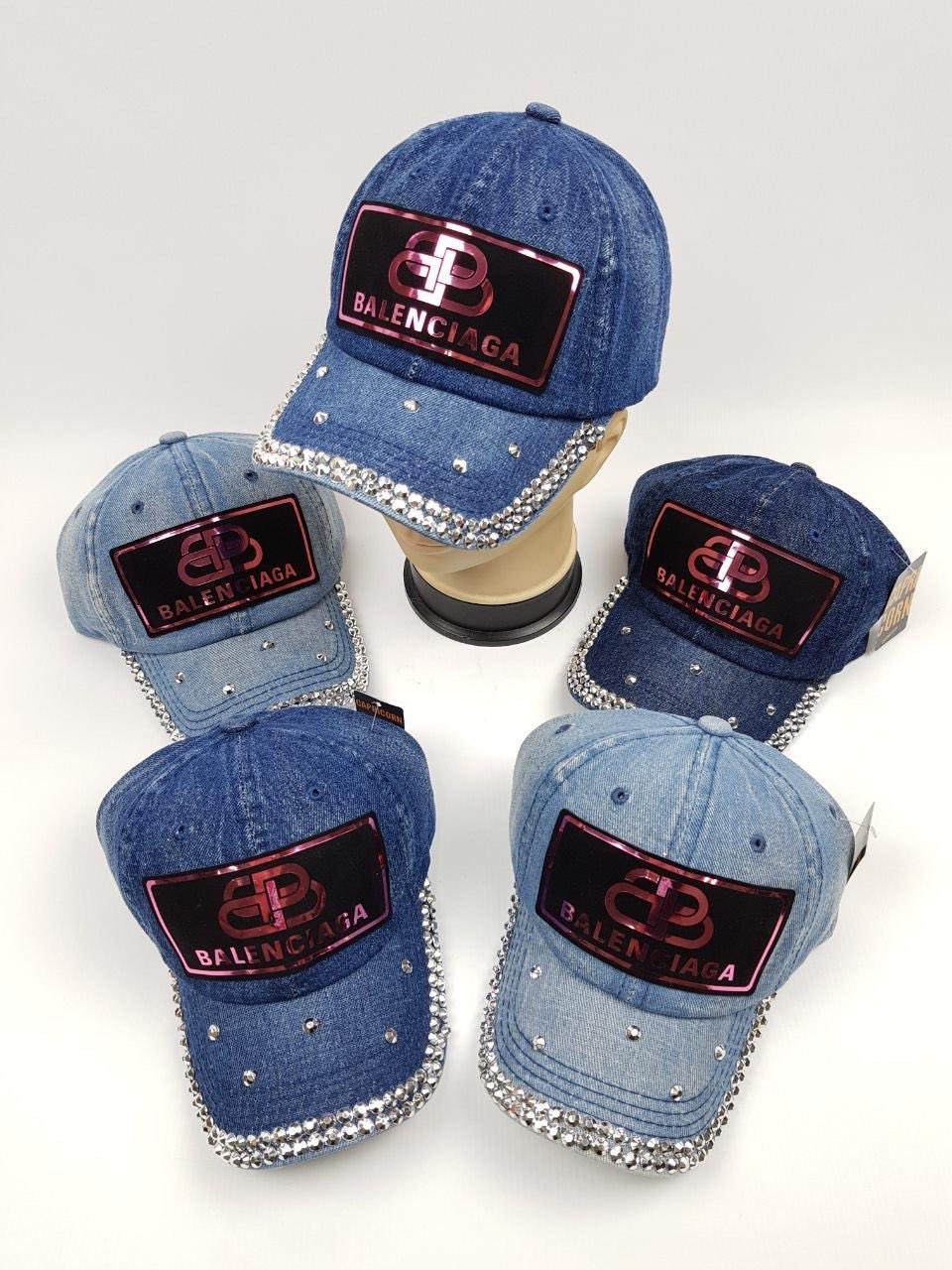 Детские джинсовые кепки Balenciaga для девочек оптом, р.54