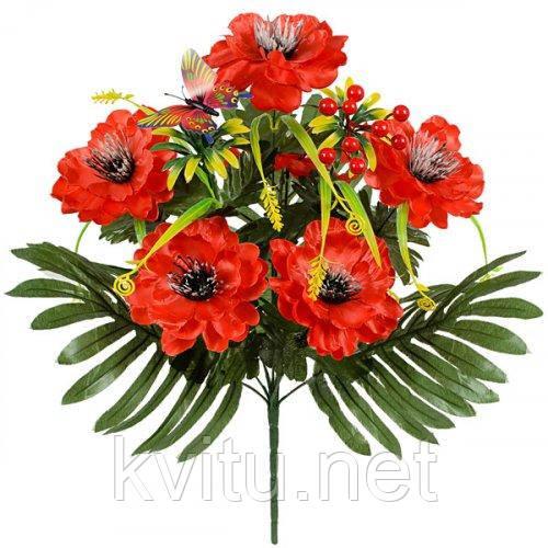 Искусственные цветы букет пионы из атласа Бабочка, 50см