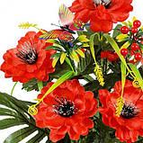 Искусственные цветы букет пионы из атласа Бабочка, 50см, фото 2