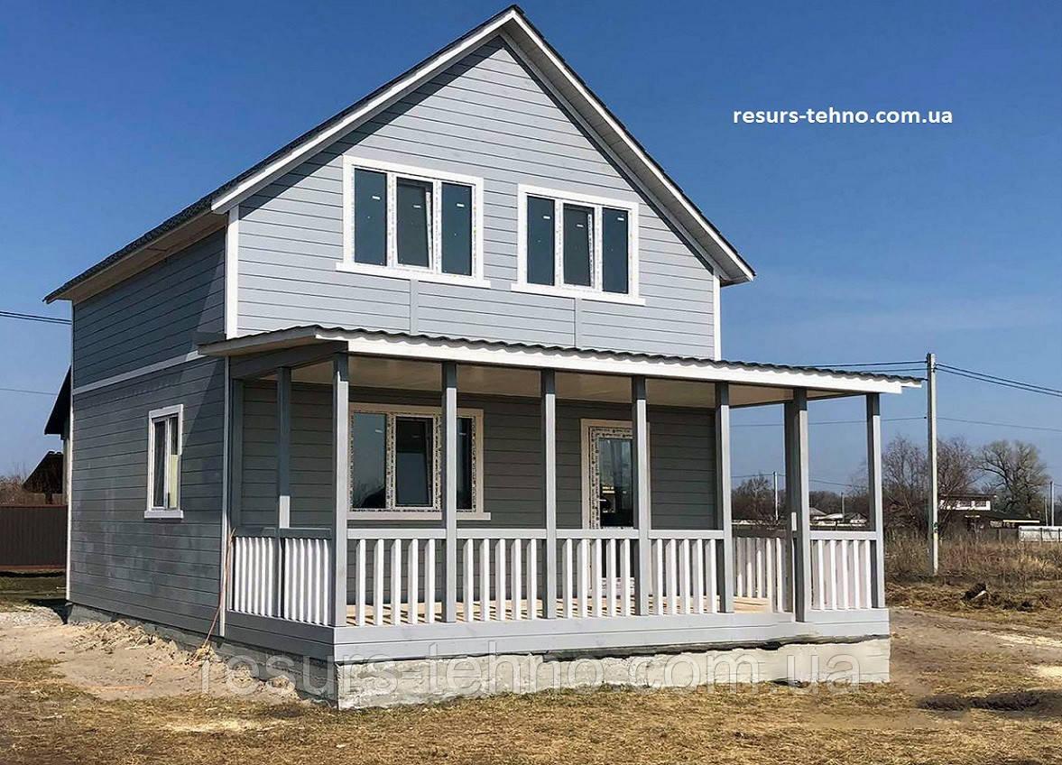 Дачный домик 6,0м х 6,0м с мансардой и террассой